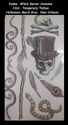Vodoo  Witch Doctor Costume temporary tattoo Halloween Mardi Gras  New Orleans (Halloween Costume Witch Doctor)