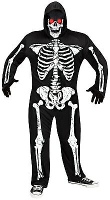 Fade In Out Skeleton Phantom Light-Up Red Eyes Adult Mens Halloween Costume PLUS