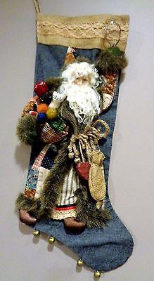 Rare House of Hatten Vtg Christmas Stocking 3D Santa w/ Patchwork Quilt Suit