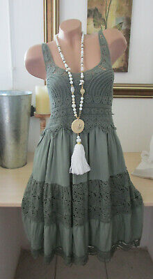 Vintage Khaki (Häkel Kleid Träger Vintage Blogger Sommer Hippie Stickerei Khaki IBIZA 36 38 40)