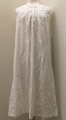 Charter Club Sleeveless Embroidered Gown Woven Cotton 16212 Bright White - Charter Club Cotton Robe