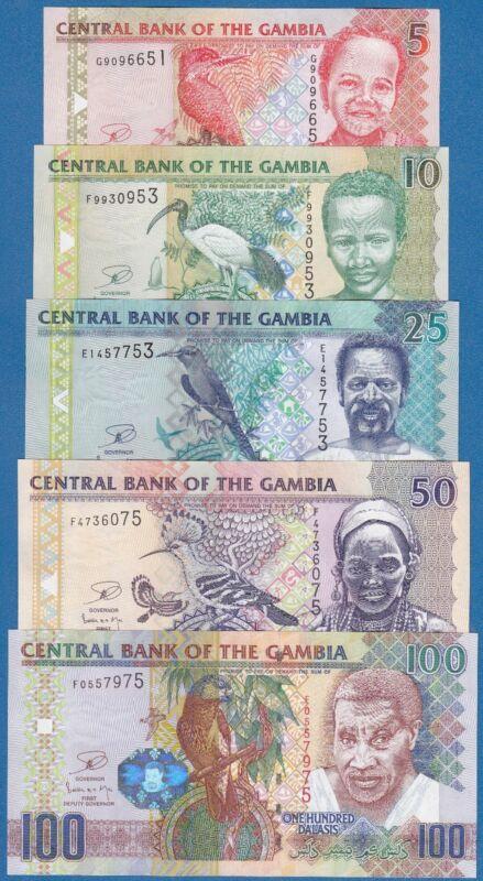 Gambia 5 note SET 5 + 10 + 25 + 50 + 100 Dalasis P 25 26 27 28 29 Sign 17 UNC