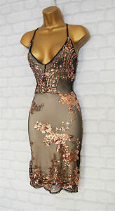PERINA-Black-amp-Gold-Sequin-Lace-Bodycon-Evening-Party-Dress-6-8-10-12-14-16