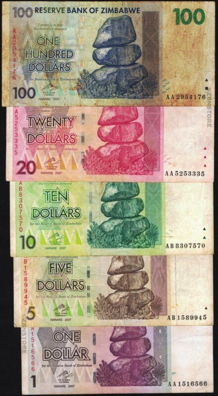 5 x 10 Trillion 5 x 1 Million Zimbabwe Dollars Bank Notes AA AB 2008 Set 10PCS