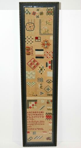"Beautiful 19TH C. English Antique Needlework Sampler w 41 patterns 42.5"" x 10.5"""