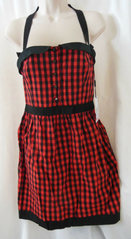 M MISSONI Red/Black Gingham Check Print Cotton Mini Dress-Size 4 40-NEW-NWT-$750