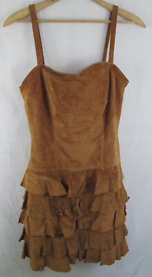 APART Suede Leather Dress Ruffle Skirt Spaghetti Strap 8 Festival Party - Party Apart