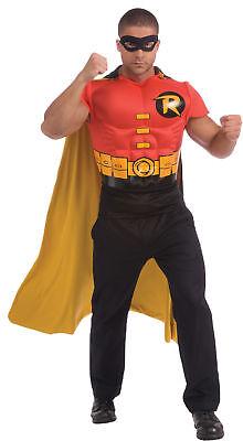 Robin Adult Muscle Shirt Top Cape Mens Costume Batman DC Comics Superhero
