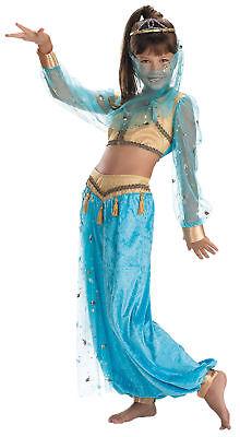 Girls Mystical Genie Costume (Mystical Genie Child Girls Costume Sheer Turquoise Sleeves Fancy Dress)