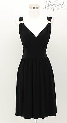 White House Black Market Designer Dress Size 10 Black Gold Career Formal Tdh