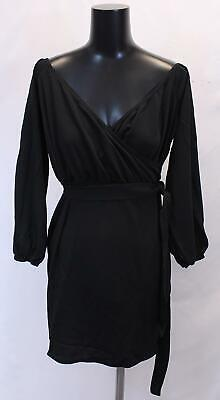 Boohoo Women's Plus Off The Shoulder Wrap Mini Dress BF5 Black Size US:14 NWT