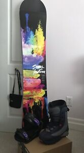 New Sims 151 snow board, boots and Burton bindings