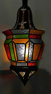Moroccan Glass Lantern Lamp Indoor Outdoor Electric Candlelit  XL Multi-Colored