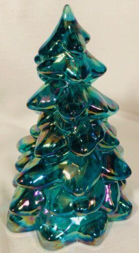 """Christmas Holiday Tree - Mosser USA - Teal Carnival Glass - Small 2 3/4"""""""