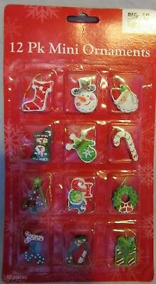 12 Pk Mini Ornaments Santa Snowman Stocking Noel Joy Wreath Gift Tree