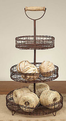 Three Tier Wire Basket Stand Display Wooden Handle Rustic Country Home Decor