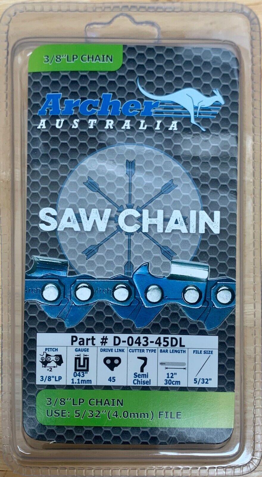 """12"""" Archer Chainsaw Chain 3/8"""" .043 45DL Blade WORX WG380 40"""