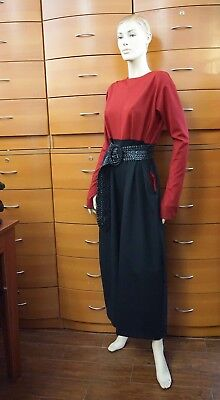 JUMPSUIT PARTY BELTED THUMB SLEEVES POCKET DROP CROTCH MADE IN EUROPE US 12/14 L