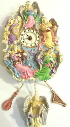 VINTAGE COLORFUL CERAMIC CHIMED WALL CLOCK MUSICAL ANGELS