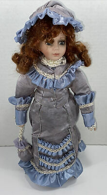 "Porcelain 15"" Girl Doll With Red Curly Hair. Vintage"