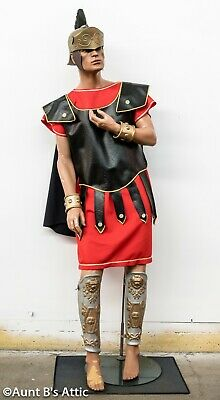 Roman Solider Costume 8Pc Rd/Blk Tunic Chest Armor Helmet Arm Cuffs & Leg Guards](Roman Solider Costume)