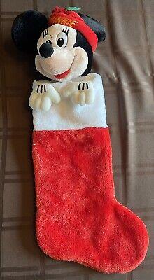 "DISNEY Christmas Minnie Mouse Stocking 3D Plush Stuffed Head Red 24"" RARE VTG"