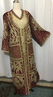 """Bust 51"""" ABAYA caftan embroider dress gown boho Ethnic beaded maxi jalabiyah"""