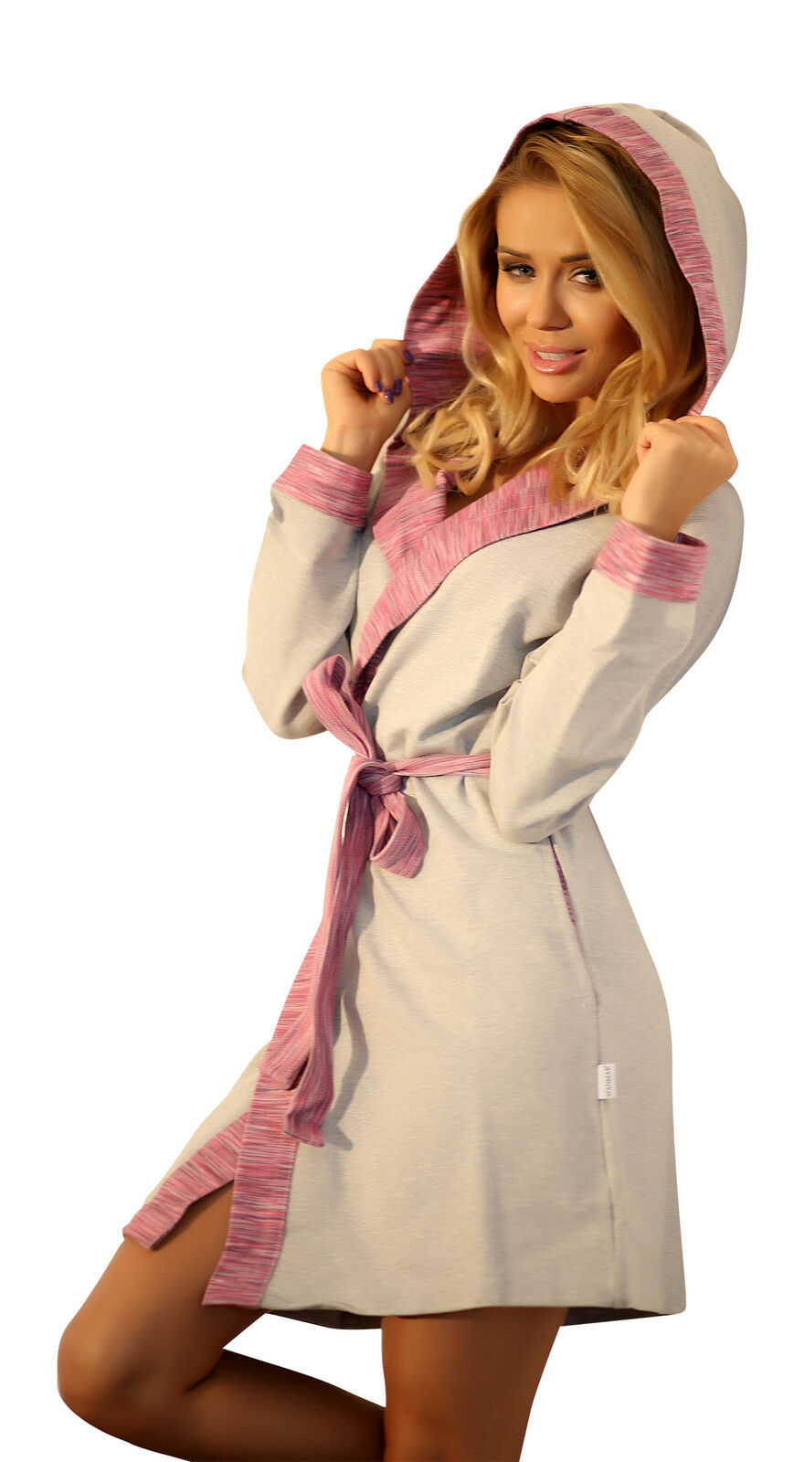 Details about Womens Warm Hooded Housecoat Short Dressing Gown Cotton Soft Bathrobe Robe