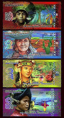 SET Equatorial Territories, 5;10;20;50 E. Francs, 2014-2015 POLYMER, UNC