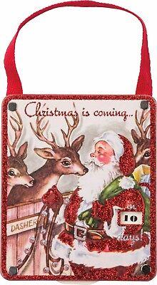 Wood Hang Up Countdown Calendar Days Until Christmas Is Here Santa & Reindeer - Countdown Calendar Days