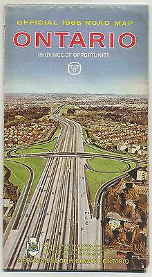 Vintage1965 Highway Map ONTARIO, CANADA Dept. of Highways