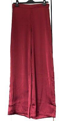 Pantalon ample à tirette, rouge bordeaux,effet satiné mate, pour femme-Taille 38