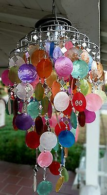 SOLAR CAPIZ SHELL WINDCHIMES/CHANDELIER MIXED COLOR CAPIZ CHIMES SOLAR