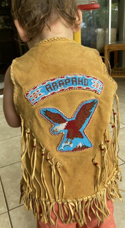 Genuine Old Native American Arapaho Tribe Toddler Beaded Vest 3T 4T