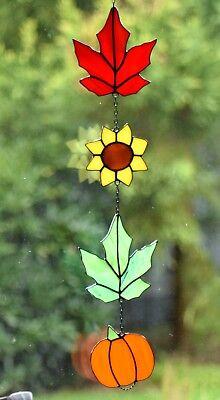 Tiffany Fensterbild bunte Herbstkette Fensterdekoration Sonnenfänger Glaskunst