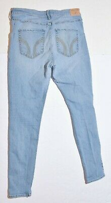 Woman's HOLLISTER Jeans Pants Bottoms Blue Super Skinny High Rise Junior Size 15