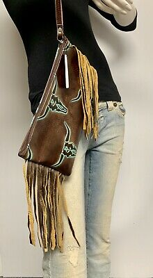 Raviani Wristlet Bag W/ Fringe In Brown & TQ Longhorn Leather MADE IN USA ()