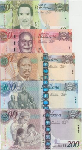 Botswana banknote P. complete set 10/20/50/100/200 Pula, UNC WE COMBINE