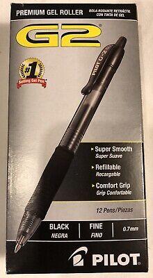 12 Count Pilot G2 0.7mm Roller Ball Retractable Gel Pen Black 12 Packink Pens