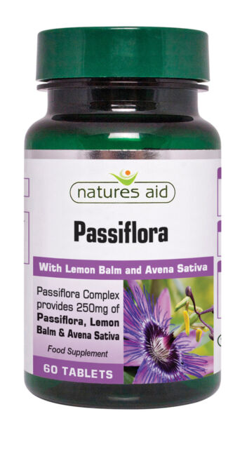 Passiflora 250mg 60 tabs with Lemon Balm and Avena Sativa Natures Aid