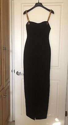 Tom Ford gold Chain strap bustier stretch cady gown black long dress IT40/US 4 Chain Bustier Dress