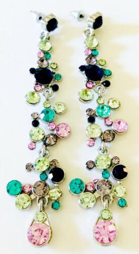LONG RHINESTONE EARRINGS MARIE ANTOINETTE VICTORIAN  REVIVAL VINTAGE GREEN PINK