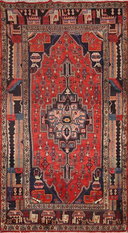 Vintage Geometric Traditional Area Rug Wool Hand-knotted Oriental Carpet 5x9