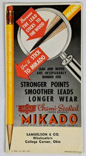 1950s Samuelson & Co College Corner OH Mikado Pencils Ink Blotter Advertising