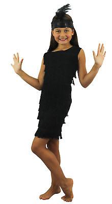 KINDER FLAPPER MÄDCHEN SCHWARZ FRANSEN KLEID 1920er KOSTÜM CHARLESTON - Flapper Mädchen Kostüm Schwarz