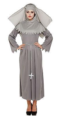 Mujer Atuendo de Monja Disfraz Halloween Gris Fantasma Espíritu 12-14 Nuevo (Halloween Fantasma Disfraz)