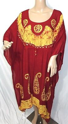 Just Love Damen Plus One Free Größe Rot Pailletten Batik Kaftan Kleid Gypsy