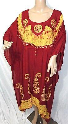 Just Love Damen Plus One Freie Größe Rote Pailletten Batik Kaftan Kleid Zigeuner ()