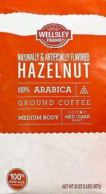 Dark Roast Hazelnut Coffee - Wellsley Farms Hazelnut Medium-Dark Roast Ground Arabica Coffee, 32 Ounces