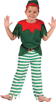 Kids Christmas Fancy Club Party Santa Helper Boy Elf Costume Xmas Outfit UK M